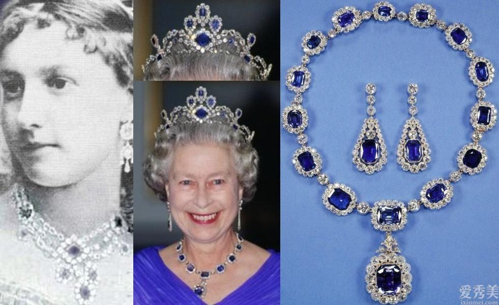 女神戴全套皇傢藍鉆石首飾,凱特的藍色寶石與之對比,確實不值一提