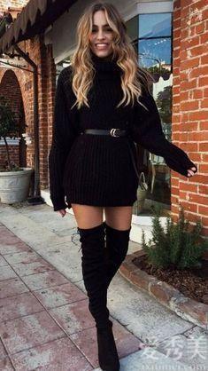 """個矮的女士一定要有氣質!時興""""紡織品長長袖連衣裙+皮靴"""",帥酷顯高"""