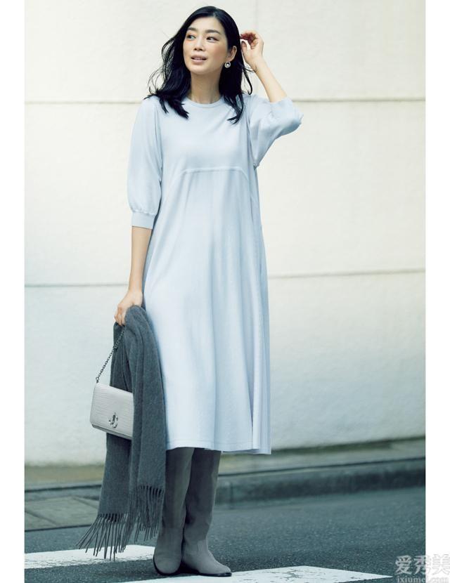全新升級長靴和長連衣裙的日韓搭配風格,扔下自始至終始終不變的迷你裙+長靴