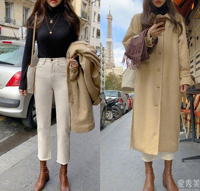 簡約淡雅的冬日出行穿衣搭配,色彩三原色的風衣搭配,極簡風格才算是真高級