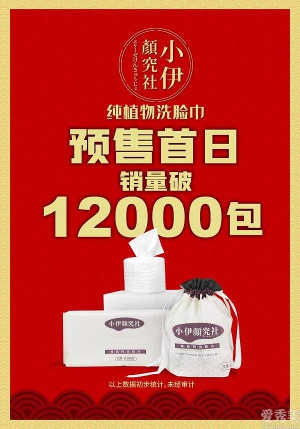 新晉洗護品牌小伊顏究社首款純植物洗臉巾雙12預售首日突破12000包