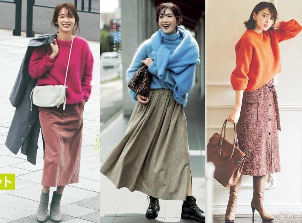 半身裙太適合冬天瞭!這類輕熟風的穿衣服搭配溫碗又潮流趨勢,沖著穿就很美