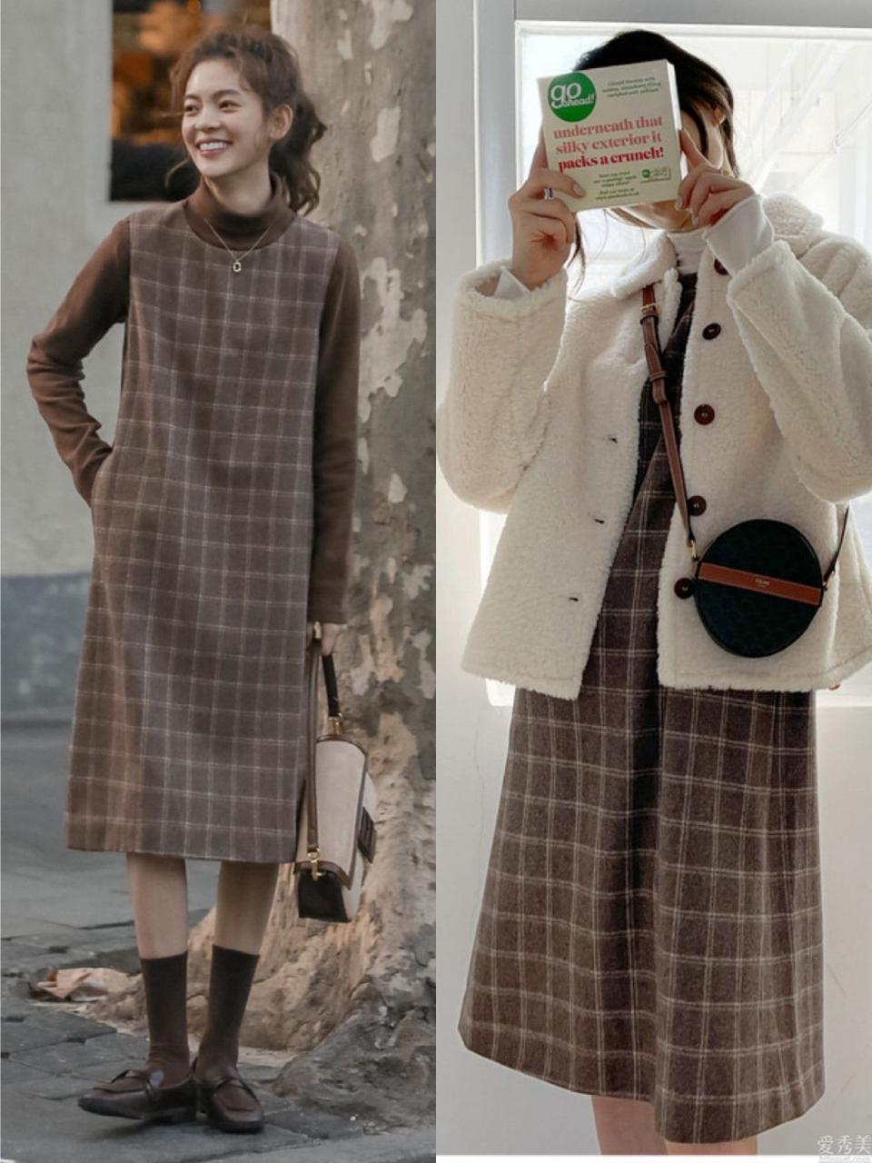 合適秋冬季的6條連衣裙,時尚潮流減齡,疊穿在長大衣、羽絨衣裡很好看